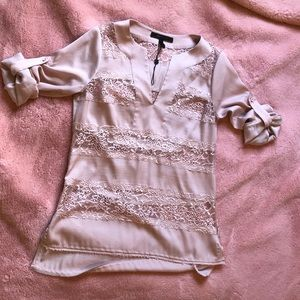 BCBG Lace and Silky Blouse Rose Pink